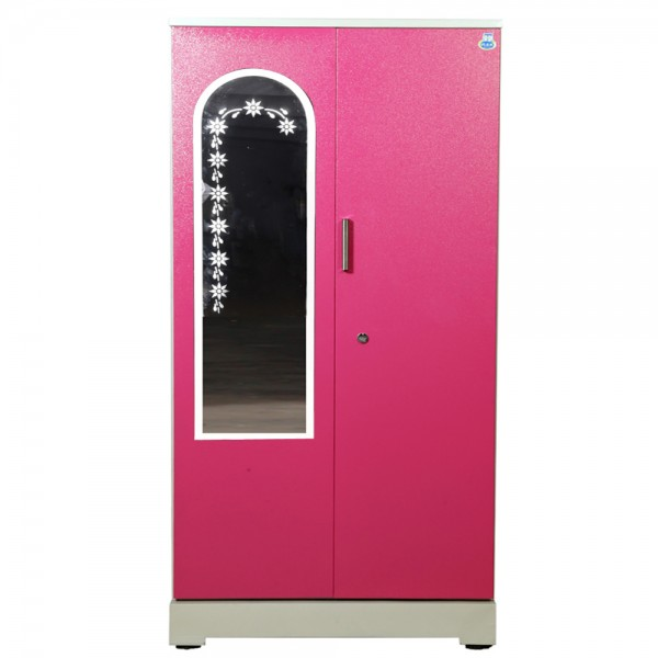 "Akshaya 2 Door Steel Wardrobe 42""  Pink with Mirror"