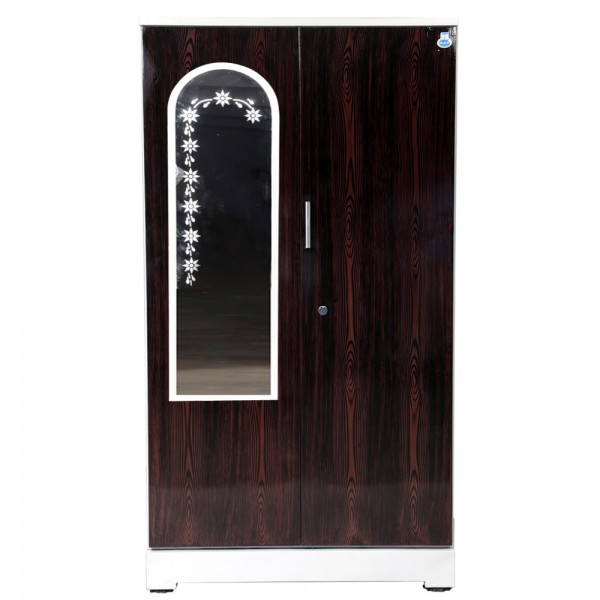 "Akshaya 2 Door Steel Wardrobe 42"" Walnut with Mirror"