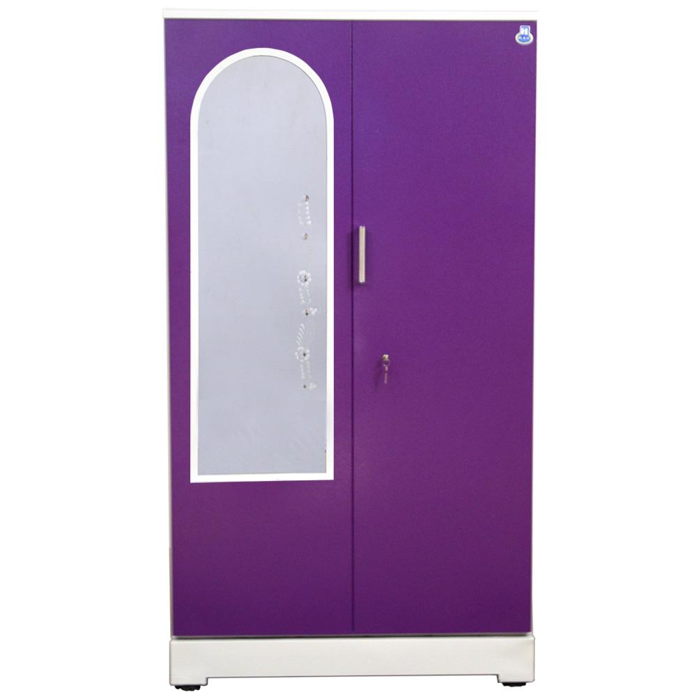 "Akshaya 2 Door Steel Wardrobe 42"" Purple With Dressing Mirror"