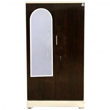 """Akshaya 2 Door Steel Almirah 42"""" Walnut With Dressing Mirror"""