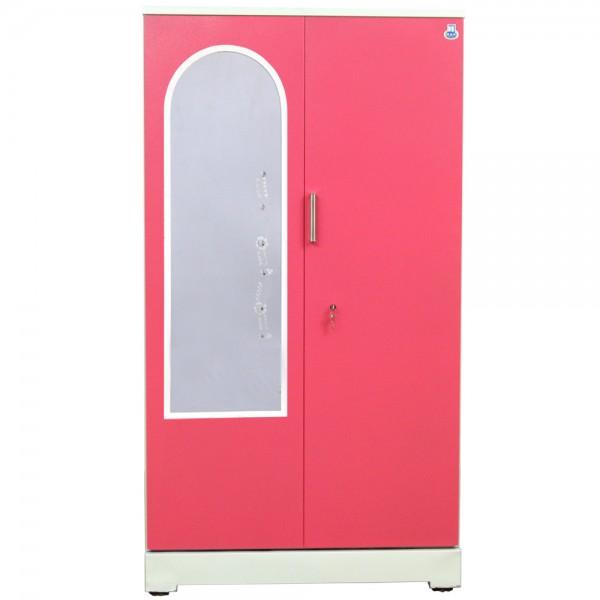 """Akshaya 2 Door Steel Almirah 42"""" Pink With Dressing Mirror"""