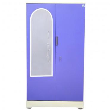 "Akshaya 2 Door Steel Cupboard 42"" Blue With Dressing Mirror"