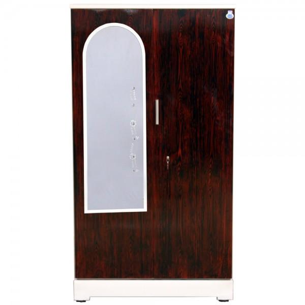 """Akshaya 2 Door Steel Bero 42"""" Rosewood With Dressing Mirror"""