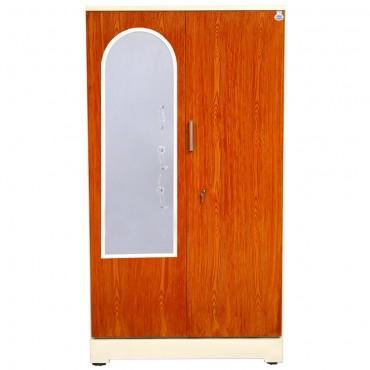 """Akshaya 2 Door Steel Almirah 42"""" Teakwood with Mirror"""