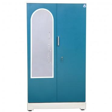 """Akshaya 2 Door Steel Almirah 42"""" Green With Dressing Mirror"""