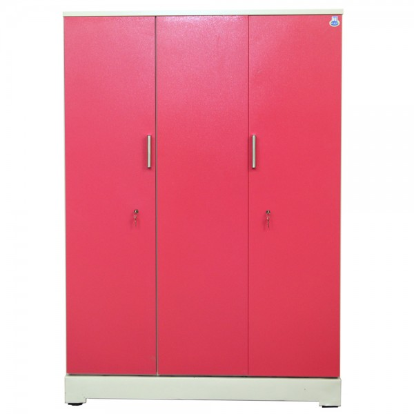 "Vajra 3 Door Steel Wardrobe 54"" Pink"