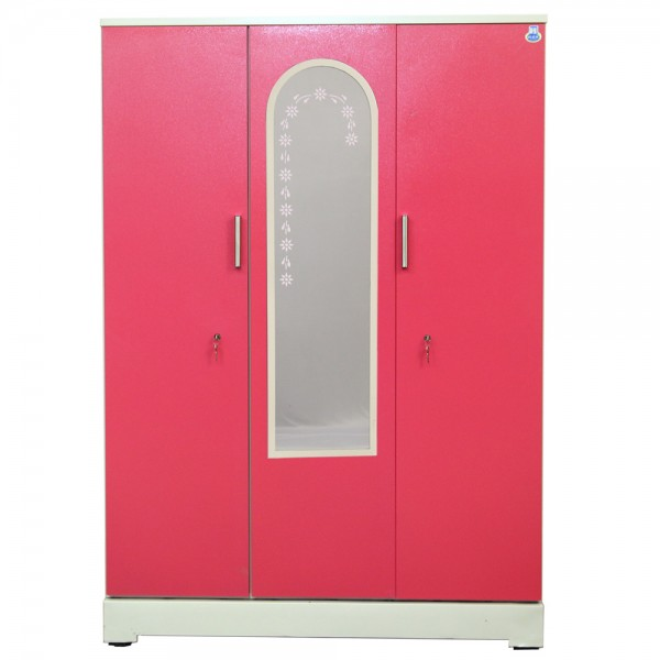 "Vajra 3 Door Steel Wardrobe 54"" Pink with Mirror"