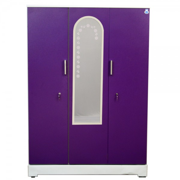 "Vajra 3 Door Steel Wardrobe 54"" Purple with Mirror"