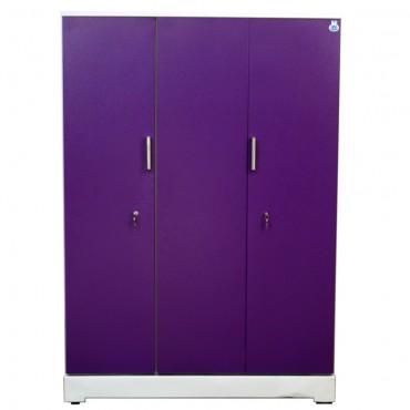 """Vajra 3 Door Steel Wardrobe 54"""" Purple"""