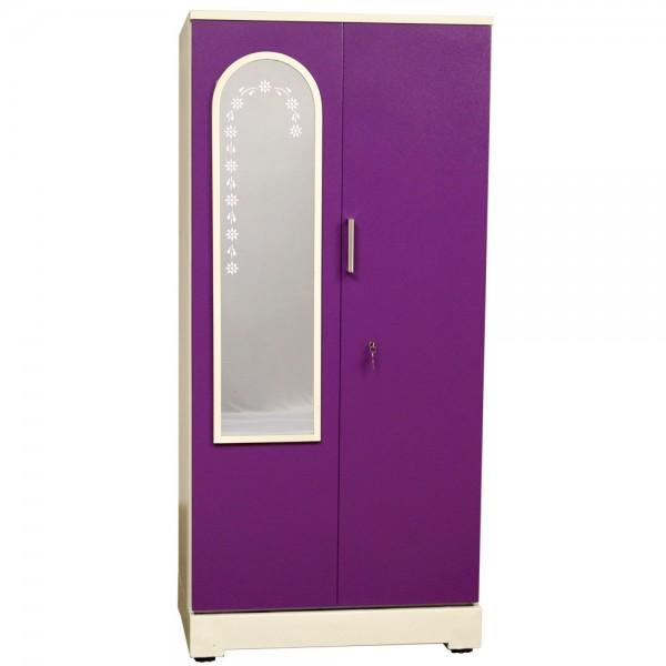 """Swarna 2 Door Steel Wardrobe 36"""" Purple With Dressing Mirror"""
