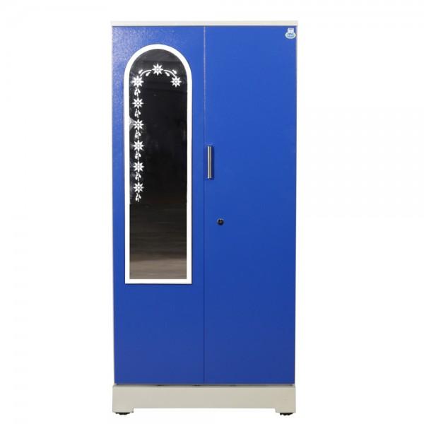 """Swarna 2 Door Steel Wardrobe 36""""  Blue with Mirror"""