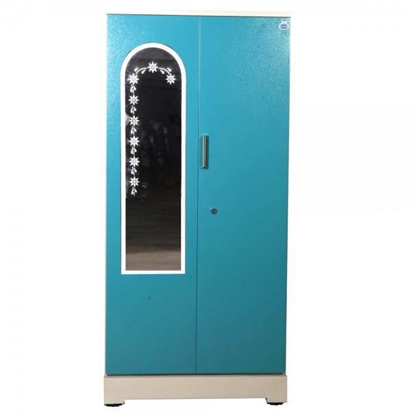 """Swarna 2 Door Steel Wardrobe 36"""" Green with Mirror"""