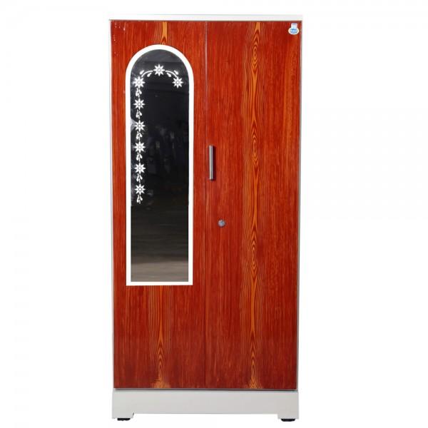 """Swarna 2 Door Steel Wardrobe 36"""" Teakwood With Mirror"""