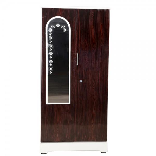 "Swarna 2 Door Steel Wardrobe 36"" Walnut with Mirror"