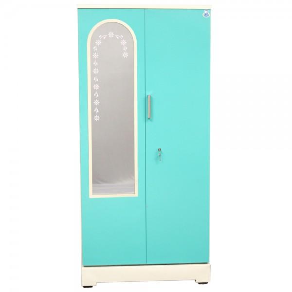 """Swarna 2 Door Steel Bero 36"""" Green With Dressing Mirror"""
