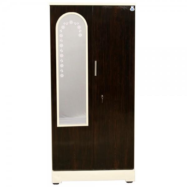 """Swarna 2 Door Steel Cupboard 36"""" Walnut With Dressing Mirror"""