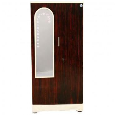 """Swarna 2 Door Steel Cupboard 36"""" Rosewood With Dressing Mirror"""