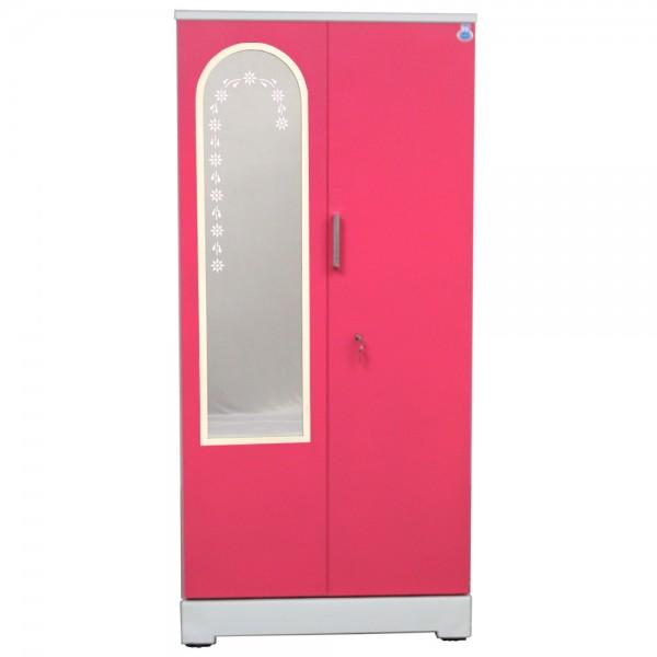 """Swarna 2 Door Steel Cupboard 36"""" Pink With Dressing Mirror"""