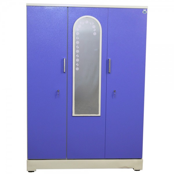 "Vajra 3 Door Steel Wardrobe 54"" Blue with Mirror"