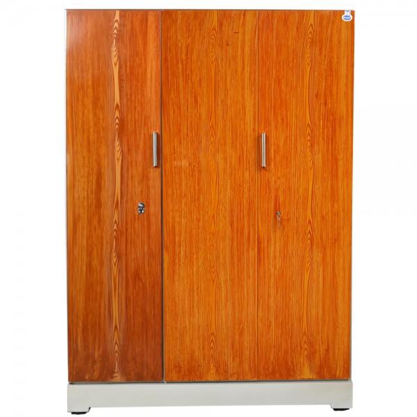 """Vajra 3 Door Steel Wardrobe 54"""" Teakwood"""