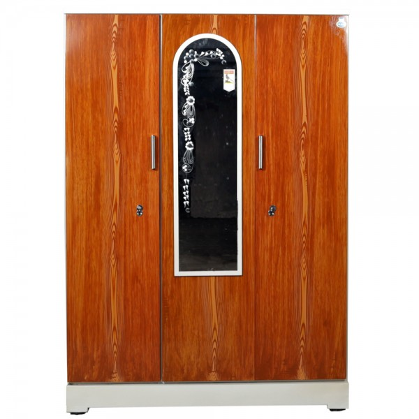 "Vajra 3 Door Steel Wardrobe 54"" Teakwood with Mirror"