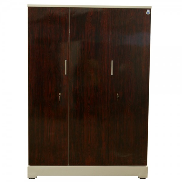"Vajra 3 Door Steel Wardrobe 54"" Rosewood"