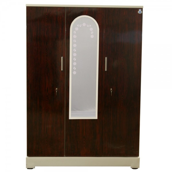 "Vajra 3 Door Steel Wardrobe 54"" Rosewood with Mirror"
