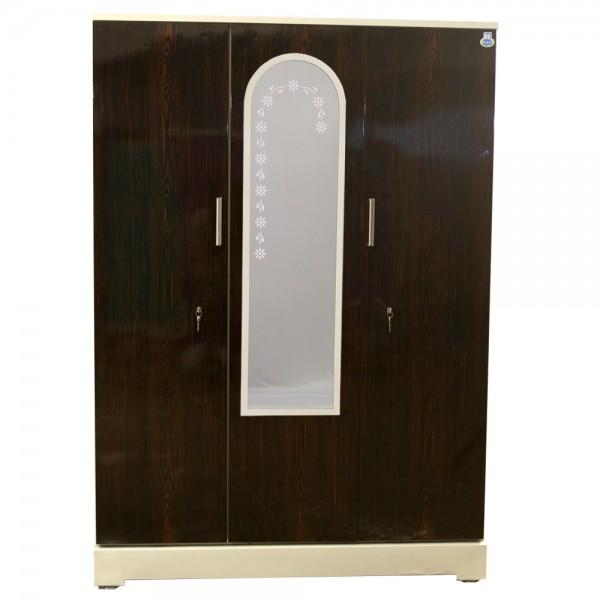 """Vajra 3 Door Steel Bero Wardrobe 54"""" Walnut With Dressing Mirror"""