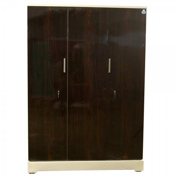 "Vajra 3 Door Steel Wardrobe 54"" Walnut"