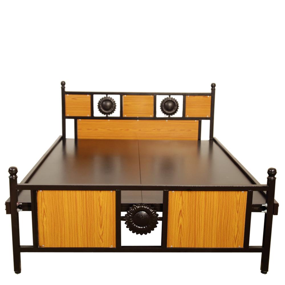 Queen Size Steel Cot 5 feet Premium with Teak wood headboard