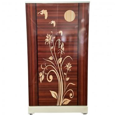 Akshaya Digital Cupboard - Redwood Stripes with Teakwood Flowers and Birds