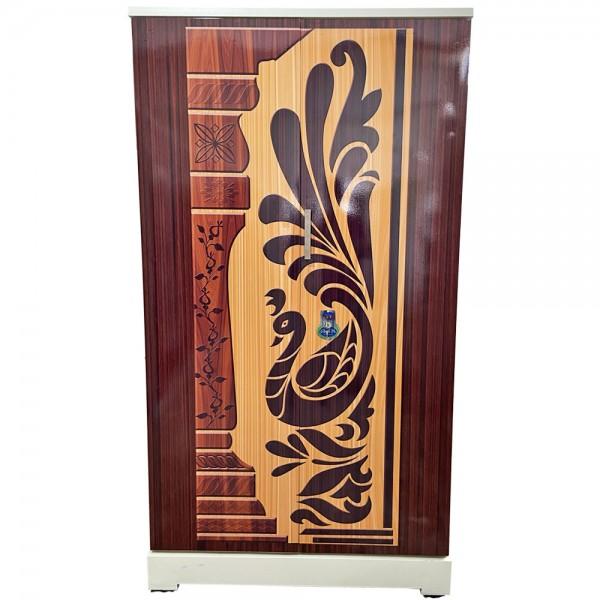 Akshaya Digital Cupboard - Redwood Stripes and Teakwood Peacock Wooden Style Finish