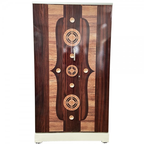 Akshaya Digital Cupboard - Luxury Walnut with Golden Circles and Pearl Wooden Style Finish