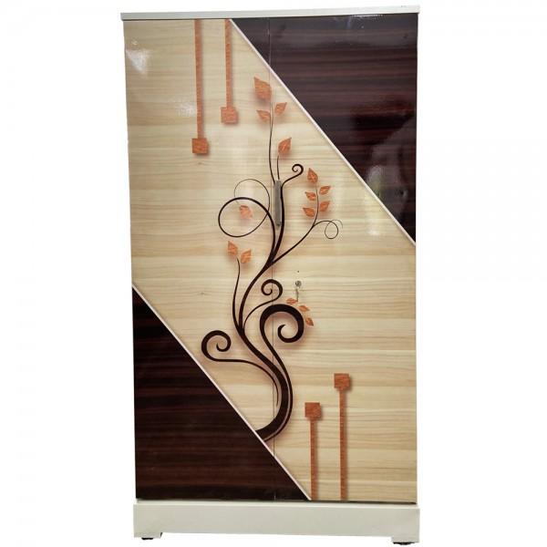 Akshaya Digital Cupboard - Walnut Triangle and Teakwood Flowers Wooden Style Finish