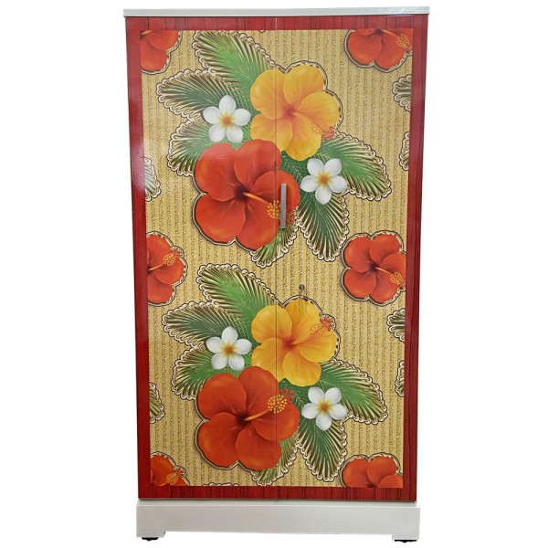 Akshaya Digital Cupboard - Red and Yellow Flowers with Redwood border
