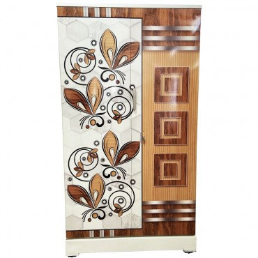 Akshaya Digital Cupboard - Teakwood Squares and Butterflies Wooden Style Finish