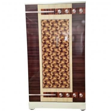 Akshaya Digital Cupboard - Gold Motifs and Walnut Stripes Wooden Style Finish