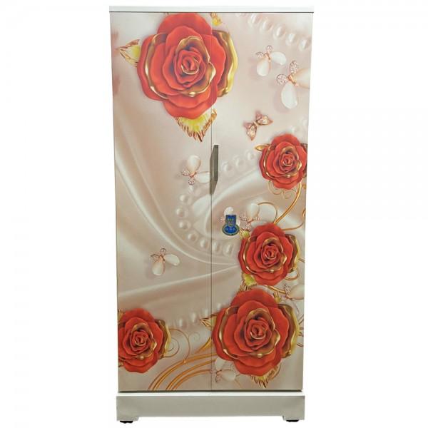 Swarna Digital Steel Cupboard Gold Red Roses