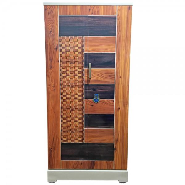 Swarna Digital Steel Bero Cupboard - Teakwood and Walnut Yellow Checks