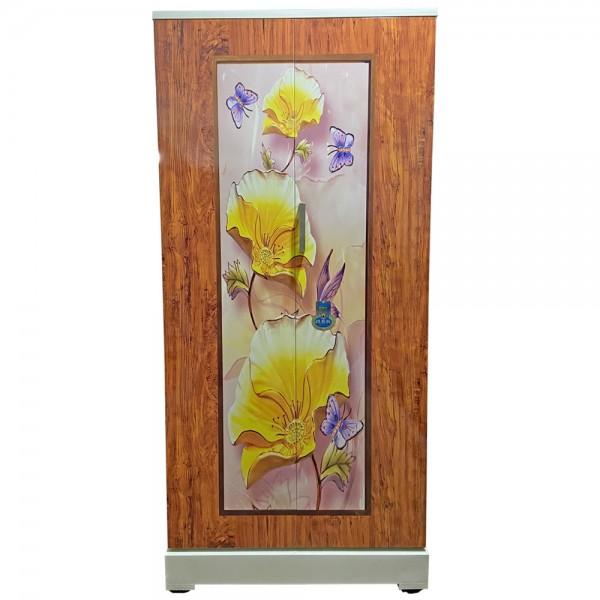 Swarna Digital Steel Wardrobe Teakwood Yellow Flowers