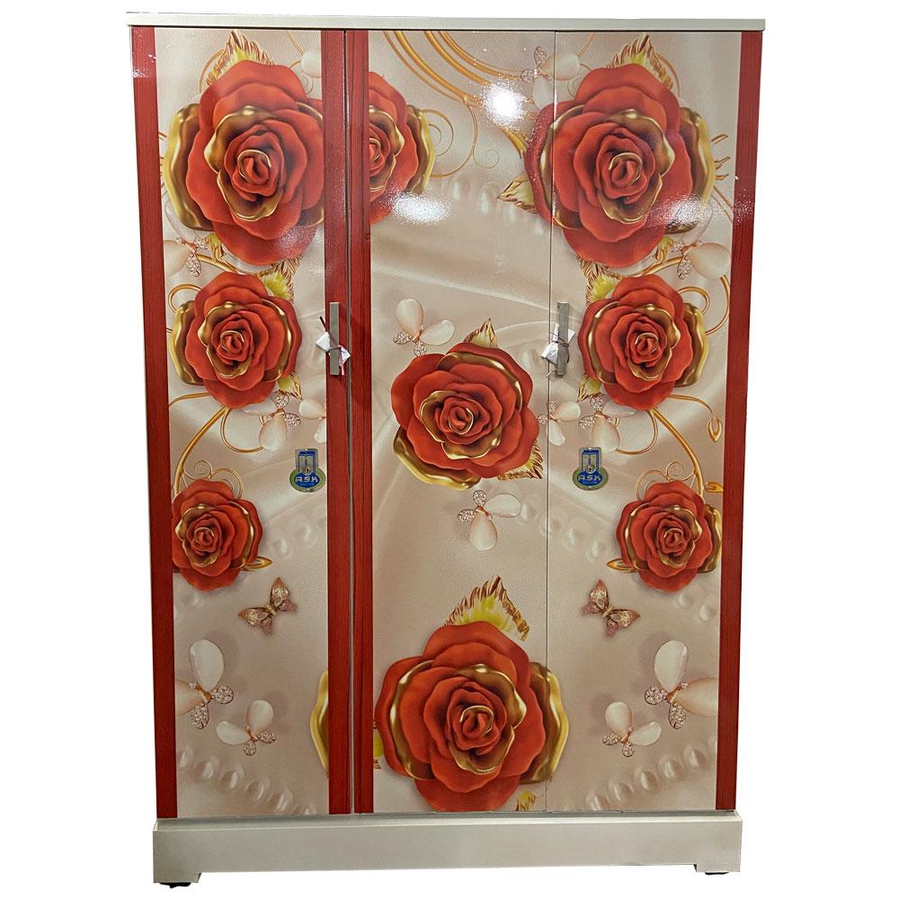 Vajra 3 Door Digital Wardrobe - Golden Red Roses with fancy Pearls