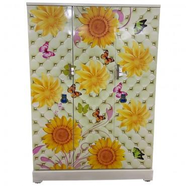 Vajra 3 Door Digital Wardrobe - Sunflowers and Butterflies