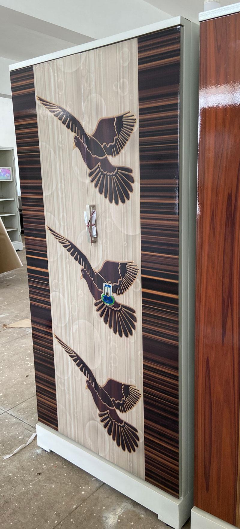 digital uv printed steel bero cupboard 3 pigeons dove walnut wooden stripes