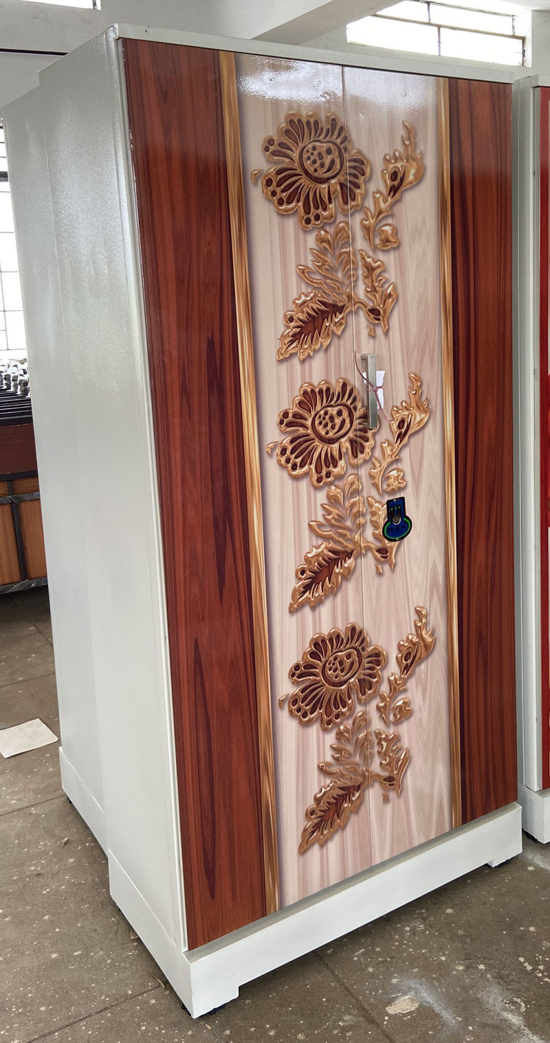 digital uv printed steel bero almirah golden roses rosewood grains