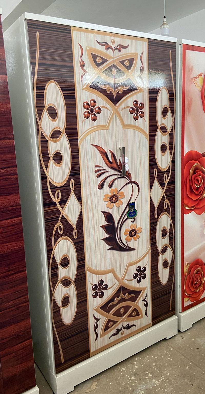 digital uv printed steel bero almirah white floral wooden design