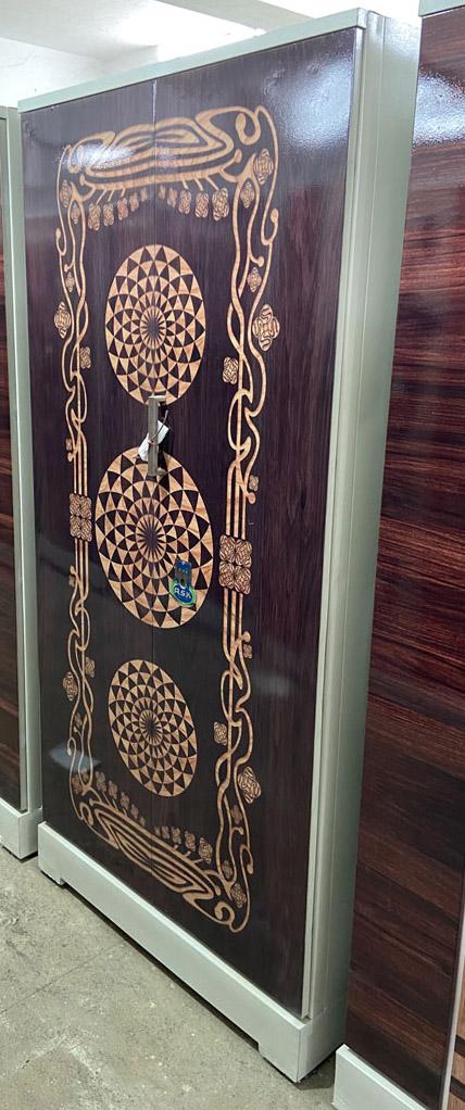 digital uv printed steel bero almirah walnut wooden grains floral design