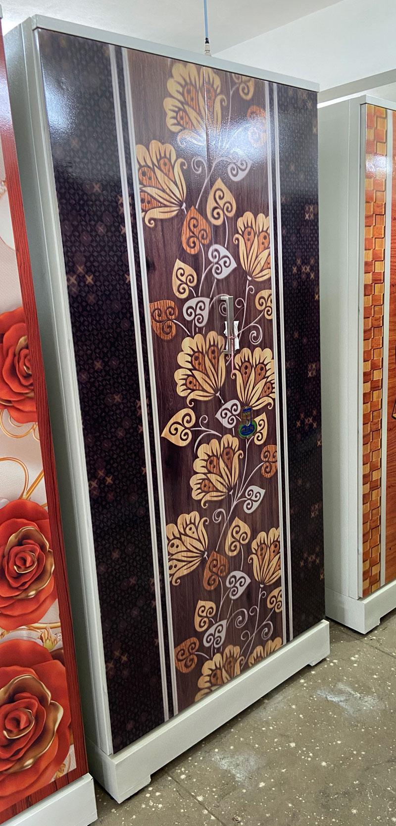 digital uv printed steel bero cupboard wooden floral black wood border swarna
