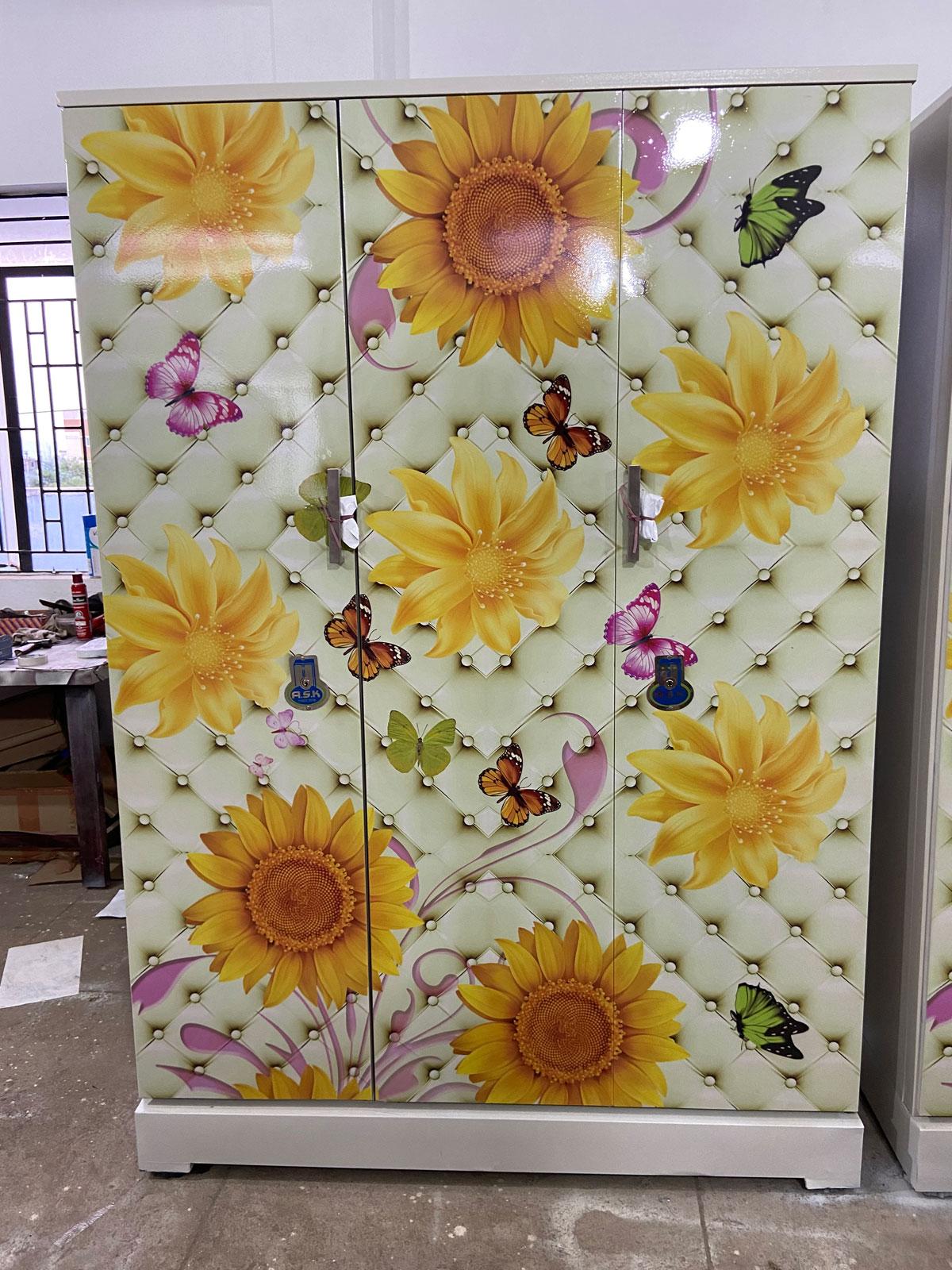 digital uv printed steel bero 3 door wardrobe luxury butterflies sunflower