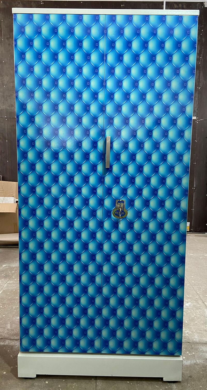 digital uv printed steel bero cupboard blue bubbles