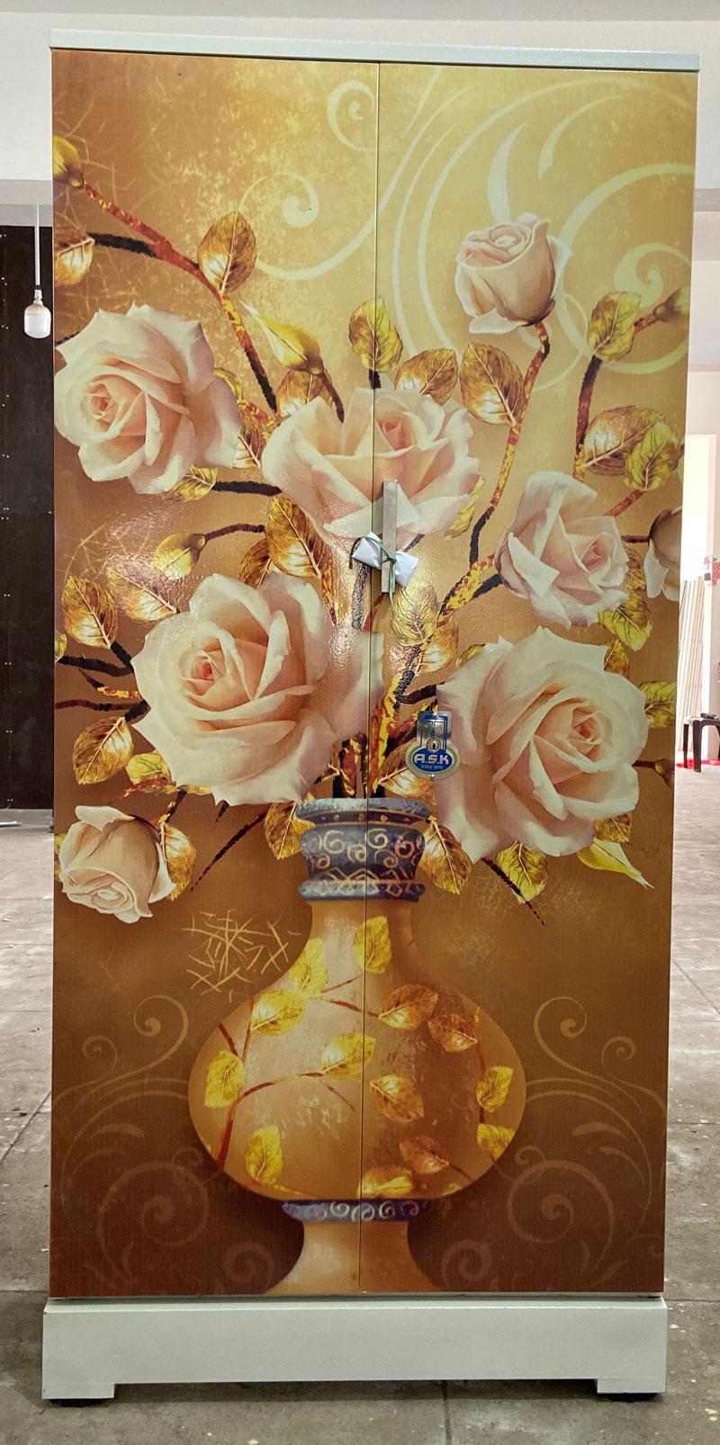 digital uv printed steel bero cupboard golden yellow flower pot